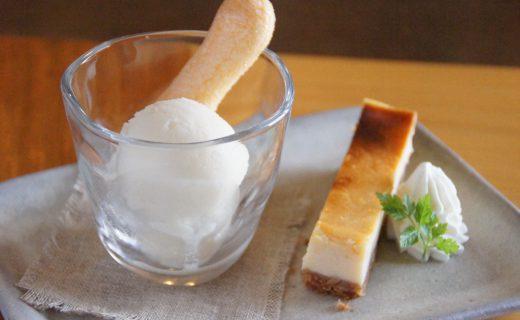 常陸乃梅ソルベとチーズケーキ